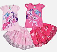 KIDS GIRLS CHARACTER SHORT SLEEVES TOP+TUTU SKIRT PARTY FORMAL OUTFIT SET 3-8YRS