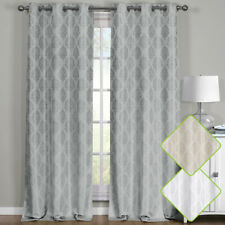 Set of 2 Blackout Grommet Curtains, Jacquard Thermal Insulated Paisley Panels