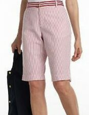 Womens Bermuda Shorts by Chaps Size 12 Seersucker Red or Blue Striped White NEW