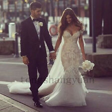 2017 Mermaid Long Train Wedding Dresses Lace Off Shoulder Bridal Gown Custom New
