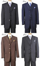 New Men's 3 piece Luxurious Wool Feel Suit 3 Buttons Striped  5802V7