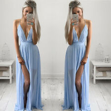 Womens Sleeveless Summer Dress Boho Maxi Long Evening Party Dress Beach Sundress