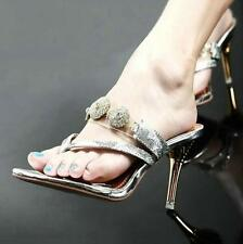 Chic Womens Glitter Sequins Stiletto High Heels Sandals Thong Pump Prom Slippers
