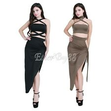 Sexy Womens Bandage Halter Crop Top Dress 2 Piece Bodycon Club Party Split Dress