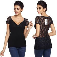 Women Sexy V-Neck Short Sleeve Lace Patchwork See-through Slim Blouse Tops FT