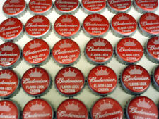 100 BUDWEISER BUD RED FLAVOR LOCK BEER BOTTLE CAPS CROWN NO DENTS FREE FAST SHP