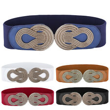 Fashion Retro Metal Buckle Elastic Wide Waistband Ladies Corset Stretchy Belts