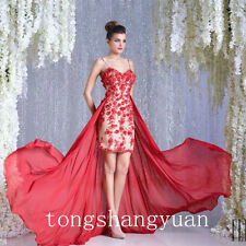 Detachable Train Red Prom Dresses For Lady Handmade Pageant Formal Evening Gowns