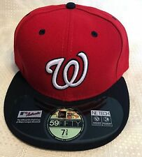 New Era 5950 WASHINGTON NATIONALS Alternate MLB Baseball Cap Fitted Hat Red/Navy