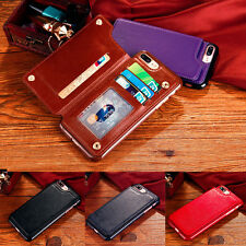 Leather Wallet Card Slot Flip Back Case Skin Cover For Apple iPhone 6 6s 7 Plus
