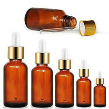 1X 5/10/15/20/50ML Amber Glass Bottles for Essential Oils with Glass Eye Dropper