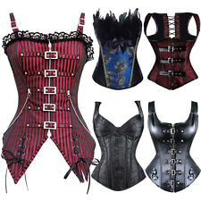 2017 New Sexy Steampunk Bustier Corset Burlesque Basque Shaper Lace Up Boned Top