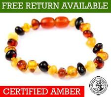 100% Genuine Baltic Baby to Adult Amber MIX Anklet / Bracelet Knotted UK 11-23CM