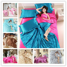 4Pcs Luxury Silk Like Duvet Cover Sets Bedding Set Bed Sheets Cover Solid Color