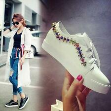 Womens Rhinestones Lace Up Casual Board Shoes Round Toe Flats Leather Sneakers