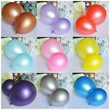 "100 X PEARL Metallic Helium Air Quality Party Birthday Wedding Balloons 10"" Inch"