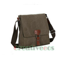 Men's Vintage Canvas Leather Satchel Schoolbag Shoulder Messenger Crossbody Bag