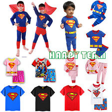 Super Hero Toddler Kids Boys Clothes Coat T-Shirt Top Pants Pyjamas Outfits Set