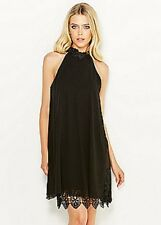 LIPSY SZ 8 BLACK CHIFFON BEAD LACE EMBELLISHED SWING BABYDOLL DRESS BNWT NEW IN
