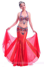 New Performance Belly Dance Costume 3PCS of Bra&Belt&Skirt 34B/C 36B/C 9 colors