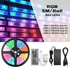 5/10M 3528 5050 SMD 300 LEDs Waterproof Flexible Strip Light+12V 5A Power Supply