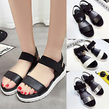 WOMENS LADIES CHUNKY PLATFORM SOLE SUMMER WEDGES SLINGBACK SANDALS SHOES SIZE