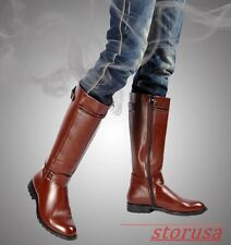 Mens Pointed Toe Buckle Spring Knee High Knight Boots PU Leathe Solid Shoes Size