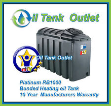 Platinum Domestic Heating Oil  Tank 1000 Litre Slimline Rec' Bunded with options