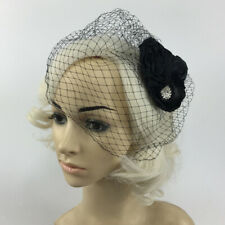 Crystal Flower Birdcage Fascinator Bridal Face Veil Wedding Party Headpiece
