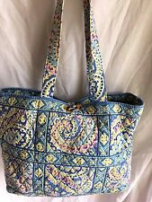 Vera Bradley CAPRI BLUE TIC TAC TOGGLE TOTE BAG PURSE SHOPPER VGUC