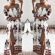 Women Sexy Off-shoulder Floral Party Cocktail Evening Dress Long Boho Dress  F41