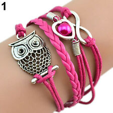 INFINITY OWL HEART PEARL FRIENDSHIP LEATHER CHARMS MULTILAYER BRACELET HOT CHIC