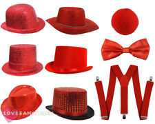 RED NOSE DAY COSTUME SET HAT NOSE BOW TIE BRACES CHOOSE HAT FANCY DRESS KIT