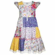 GIRLS CHILDRENS FLORAL PATCHWORK SUMMER PARTY DRESS AGE 3 4 5 6 7 8 9 10 11