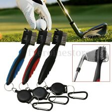 2 Sided Wire Bristles Golf Club Brush Groove Ball Cleaning Cleaner w/Snap Clip