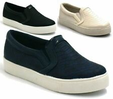 WOMENS FLAT SKATER SLIP ON TRAINERS SNEAKERS PLIMSOLLS PUMPS SHOES SIZE