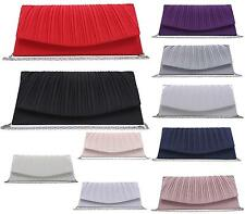 WOMENS GIRLS VINTAGE PLEATED SATIN WEDDING PARTY PROM EVENING PURSE CLUTCH BAG