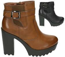 WOMENS LADIES CHUNKY PLATFORM CHELSEA ANKLE BOOTS CLEATED SOLE HIGH HEEL SHOES