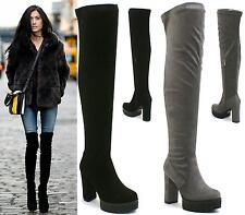 LADIES WOMENS THIGH HIGH OVER THE KNEE CHUNKY PLATFORM HIGH HEEL STRETCH BOOTS