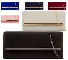 LADIES FOLD OVER ENVELOPE FAUX VELVET SUEDE LEATHER PARTY EVENING CLUTCH BAGS