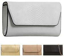 NEW LADIES FLAT ZIP ENVELOPE FAUX SNAKE LEATHER PARTY EVENING CLUTCH BAG