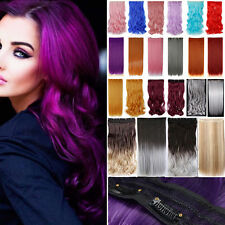 Premium Full Head One Piece Clip In Hair Extensions Long Curly Ombre Cosplay FR1