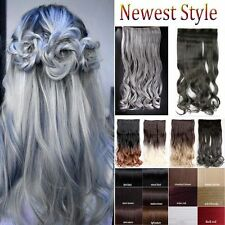 Mega Thick Ombre Long Full Head Clip In Hair Extensions One Piece Brown Gray F2g