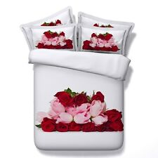 White Twin & Queen Red & Pink Roses Size Duvet Cover Bedding Set