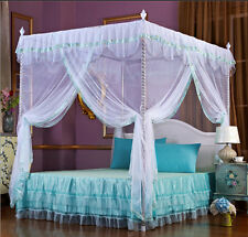 White Princess 4 Corner Post Bed Canopy Mosquito Netting Twin Queen King