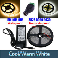 5-15M 3528 5050 5630 SMD 300LED Flexible Strip Car Room Light Bright White 12V