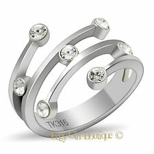 Women's  High Polished 316L Stainless Steel CZ Trendy Fashion Ring Size 5-10