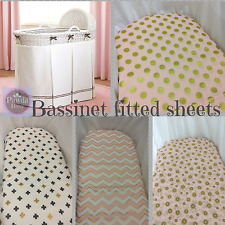 Bassinet, Moses, Boori fitted sheets - SPECIAL sale last stock, chevron, dots