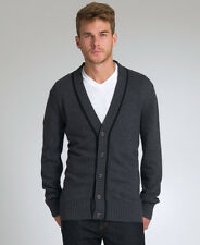New Mens Superdry Fiennes Cardigan Jumper Charcoal Heather Grey