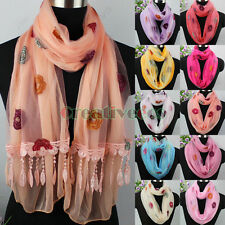 Embroidery Floral Mesh Sheer Lace Trim Tassel 2Layer Long Shawl/Infinity Scarf